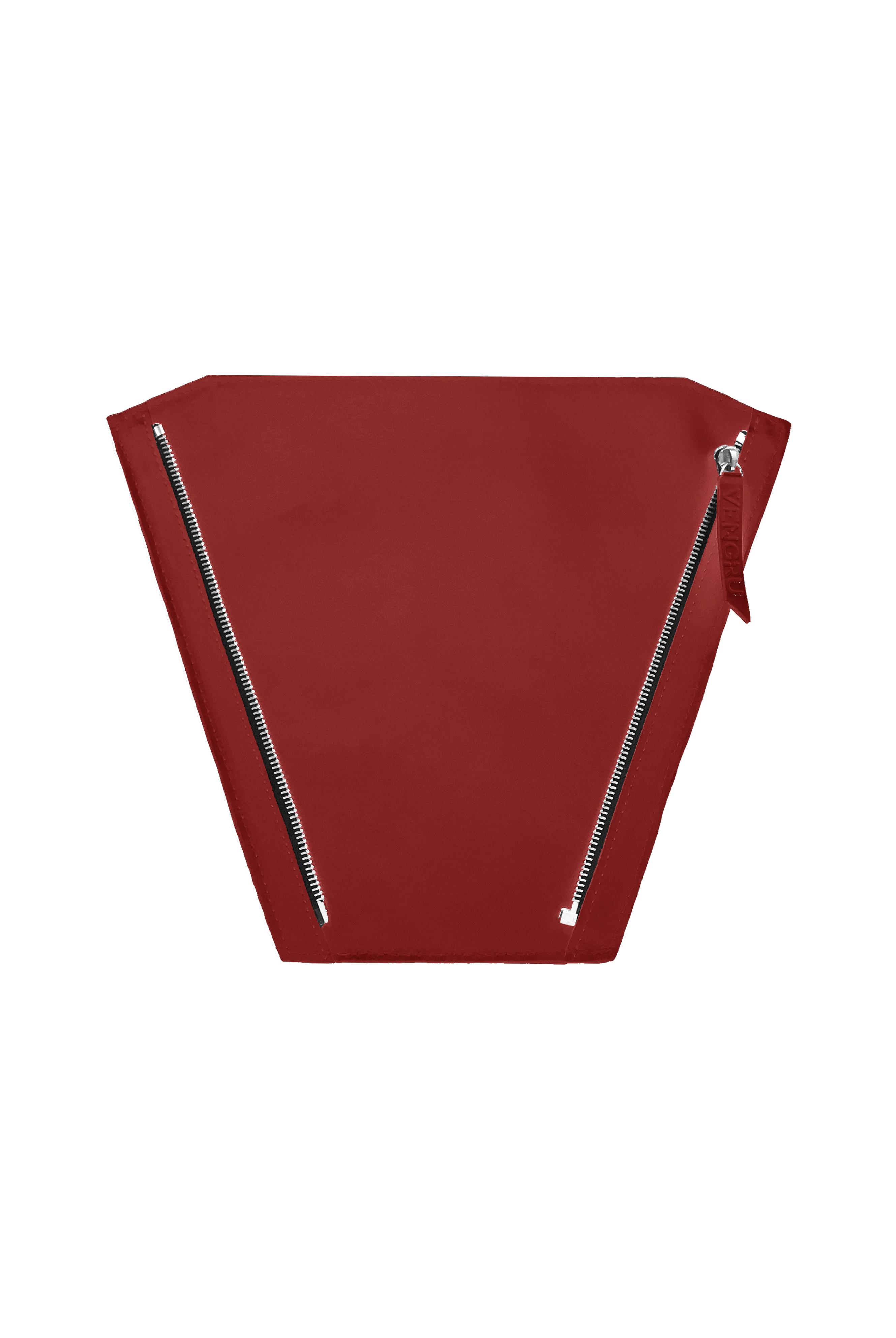Piros bőr válltáska, hátizsák, piramis táska, alaptáska