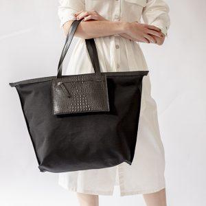 vászon táska + bőr zsebtáska szett fekete krokodíl mintás (1)