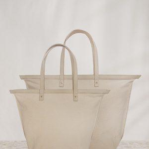 variálható vászon shopper táska homok szín kis és nagy méret