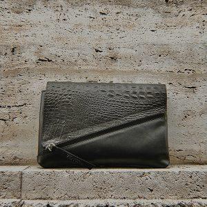 Fekete egyedi táska kézitáska borítéktáska krokodil mintás cserélhető fedéllel (1)