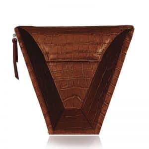 válltáska Vengru variálható táska paneltáska gem kistáska krokodil barna
