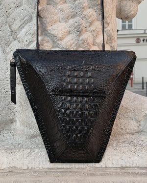 válltáska Vengru variálható táska paneltáska gem kistáska krokodil fekete