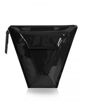 válltáska Vengru variálható táska paneltáska gem kistáska lakk fekete