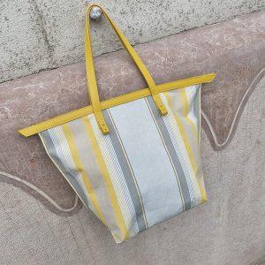 Sárga csíkos variálható vászon táska